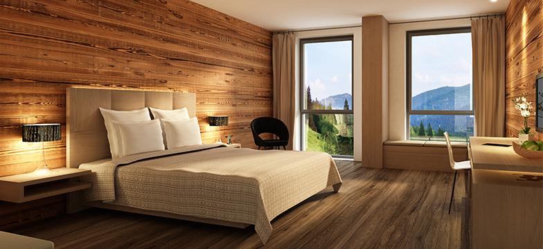 Ściany z drewna w salonie lub w sypialni